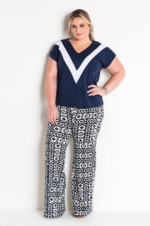Blusa Bicolor Marinho e Branca e  Calça Pantalona Étnica