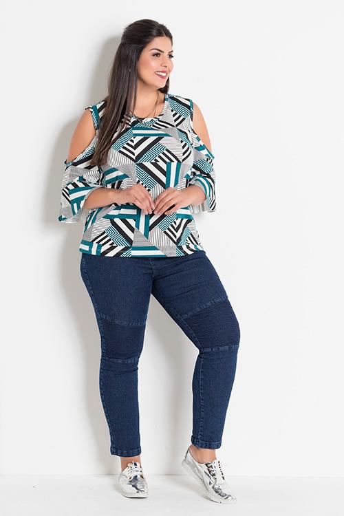 Blusa Geométrica Com Ombros Vazados