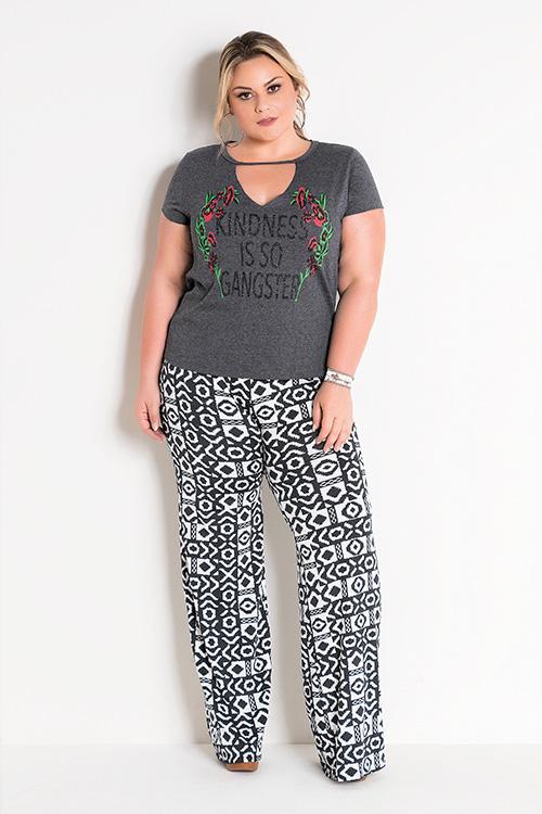 Blusa Mescla Chumbo Com Decote Choker e Calça Pantalona Étnica