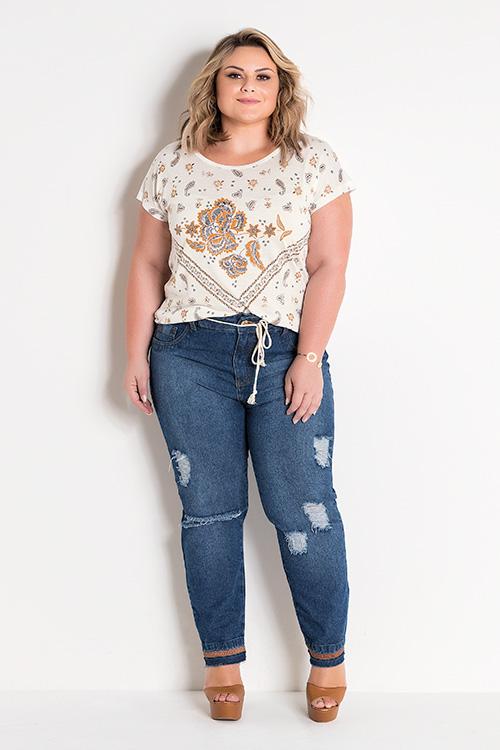 Blusa Off White Com Estampa Frontal e Calça Jeans  Destroyed