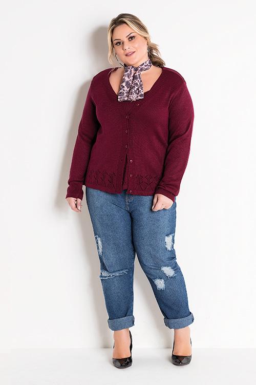 Conjunto Blusa E Casaco Bordô e Calça Jeans Destroyed