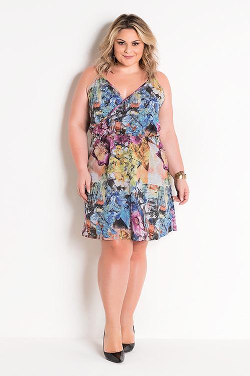 Vestido Floral Com Alças E Transpasse