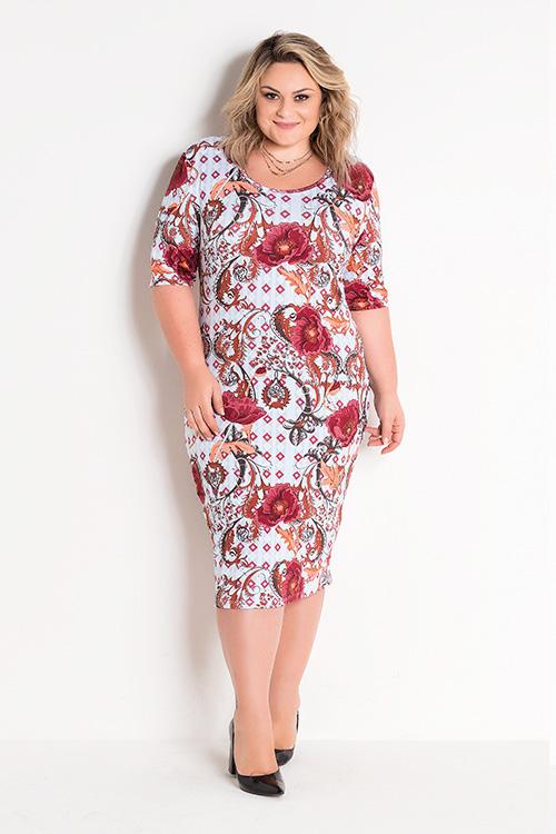 Vestido Midi Malha Texturizada Étnico