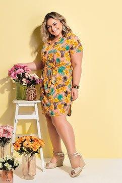 Vestido com Faixa e Amarração Floral