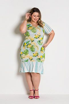 Vestido Mix de Estampa Floral e Listras