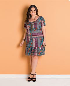 6195245029 Vestido Étnico com Babado Plus Size